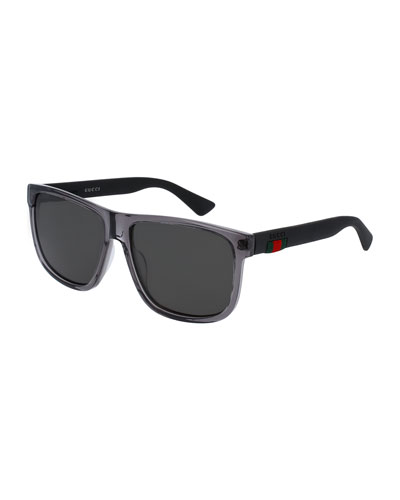 Polarized Square Acetate Sunglasses, Gray