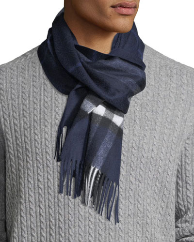 Men's Giant-Check Cashmere Scarf, Blue