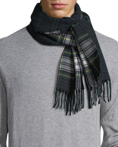 Men's Wool Vintage Check Scarf, Green