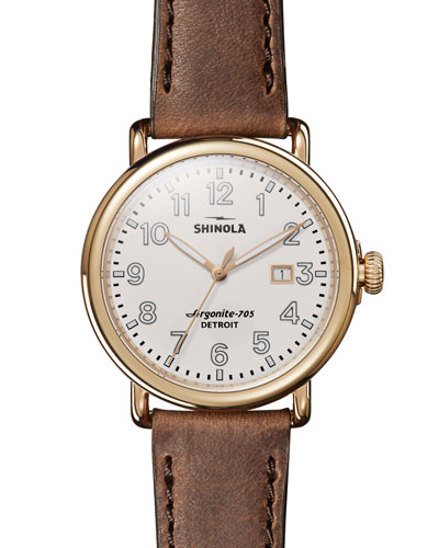 Runwell Leather Watch, Brown/Gold