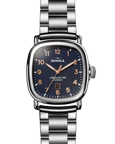 The Guardian Men's 41.5mm x 43mm Polished Stainless Steel Watch with Midnight Blue Dial