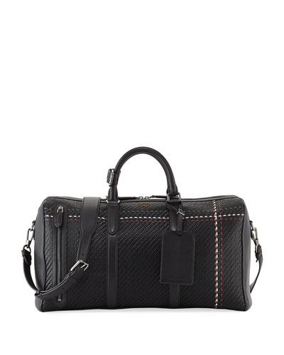 Hold All 55 Pelle Tessuta Striped Weekender Duffel Bag