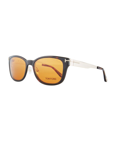 7193f9306c Soft Square Plastic Metal Glasses w  Clip-On Sun Lenses Quick Look. TOM FORD