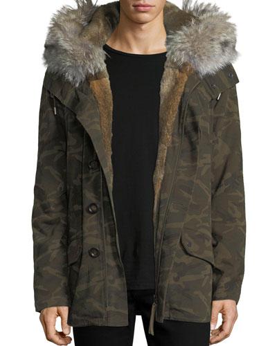 Classic Mid-Length Camo Coat w/Fur Trim