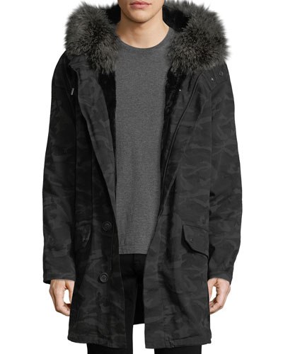 Classic Long Camo Coat w/Fur Trim