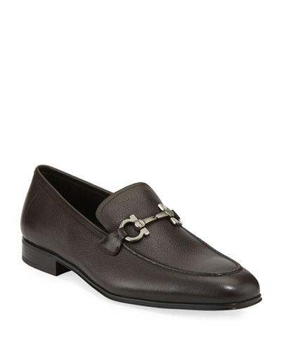 Men's Textured Calfskin Gancini Loafer, Brown