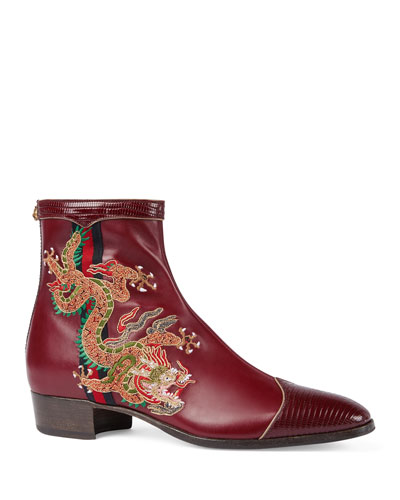 Leather Boot with Dragon Embroidery