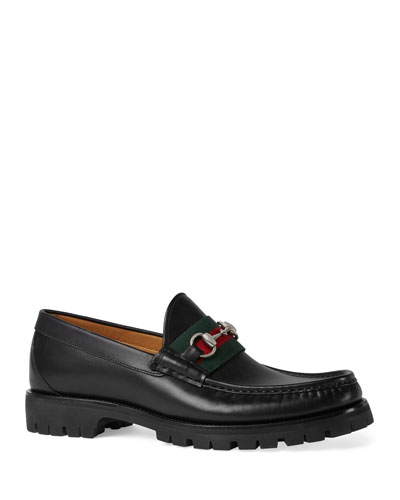 Leather Web Horsebit Loafer