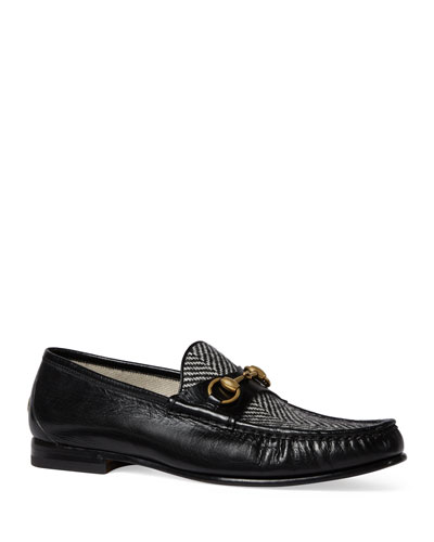 Leather & Herringbone Loafer