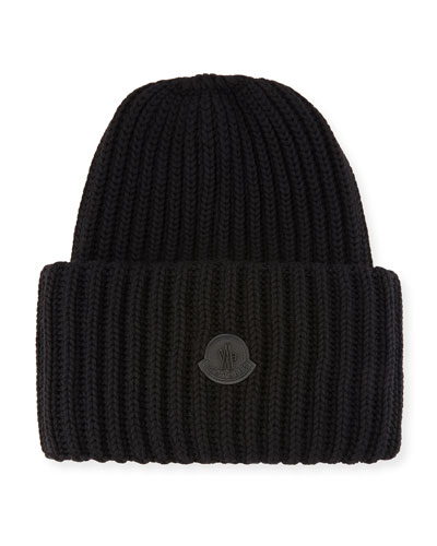 Men's Oversized Ribbed Logo Beanie Hat