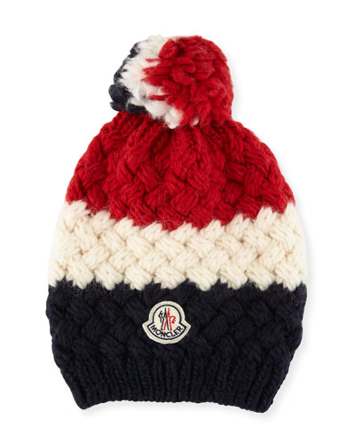 Men's Tricolor Jumbo Pompom Beanie Hat