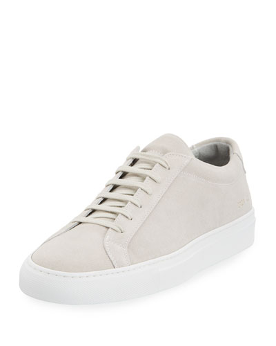 Achilles Suede Low-Top Sneaker, Gray