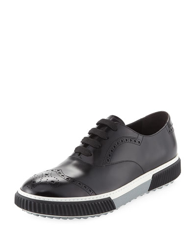 Spazzolato Leather Platform Brogue Sneaker, Black