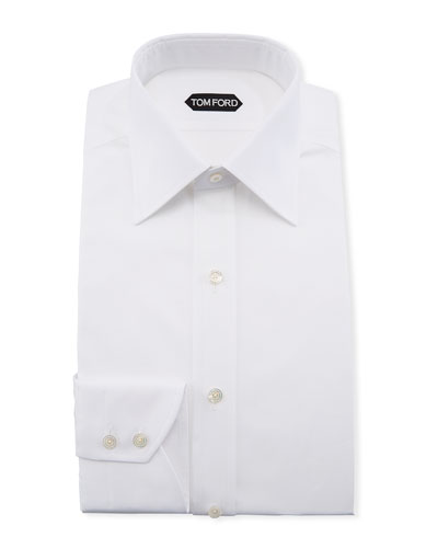 Solid Barrel-Cuff Dress Shirt, White