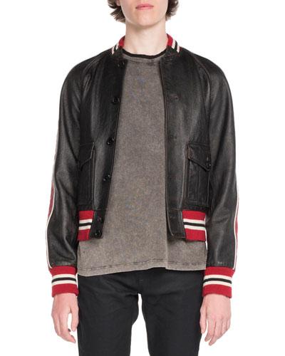 Teddy Leather Bomber Jacket