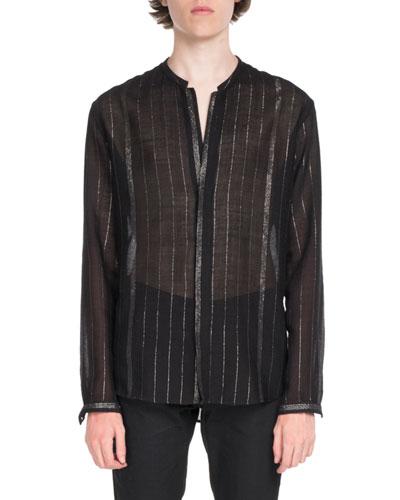 Striped Semisheer Long-Sleeve Shirt