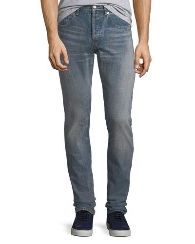 Men's Slim-Fit Light-Wash Jeans