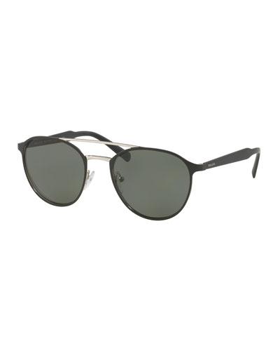 Round Aviator Sunglasses, Black/Silver