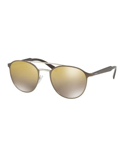 Round Brow-Bar Mirrored-Lens Sunglasses