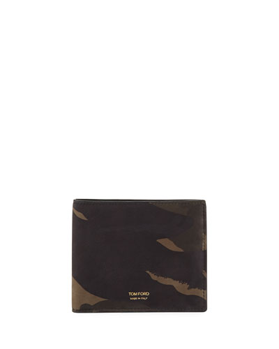 Camouflage-Print Leather Bi-Fold Wallet