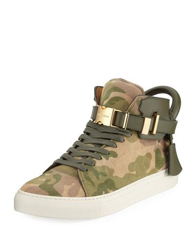 Men's Camo-Print High-Top Sneakers