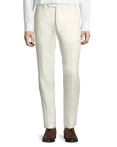 2c98c607903 Linen Flat-Front Straight-Leg Pants
