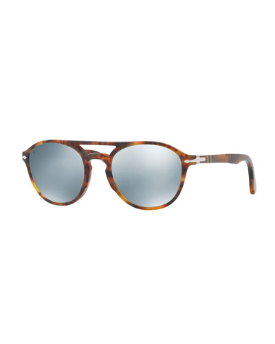 PO3170S Mirrored-Lens Pilot Sunglasses