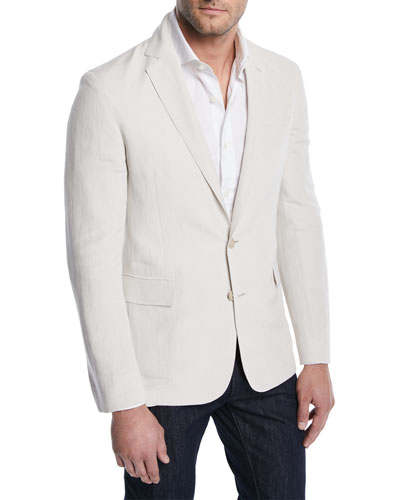 Linen-Silk Slub Two-Button Jacket