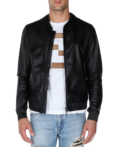 Embossed Logo Hooded Leather Jacket