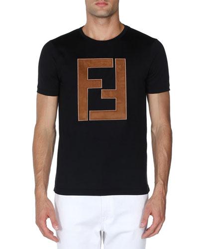 Faux-Leather Logo T-Shirt