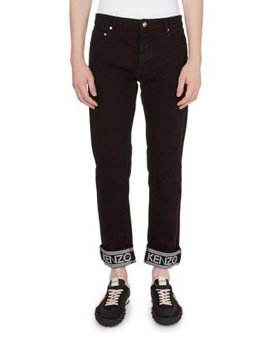 Logo-Trim Straight-Leg Jeans