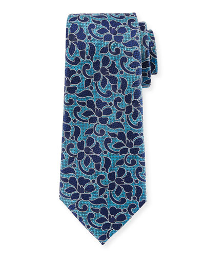Abstract Floral Silk Tie, Blue