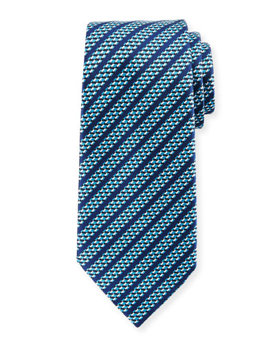 Dashed Stripe Silk Tie, Blue