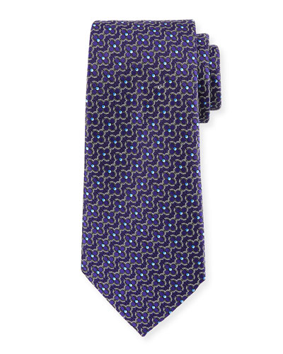 Connected Flower Silk Tie, Purple