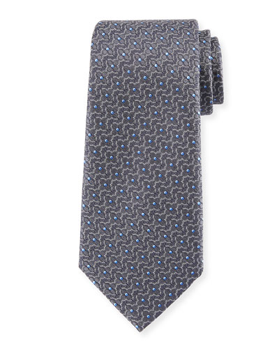Ermenegildo Zegna Connected Flower Silk Tie, Gray