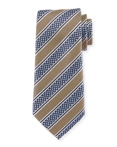 Diamond Stripe Silk Tie, Yellow