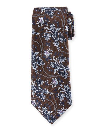 Large-Floral Silk Tie
