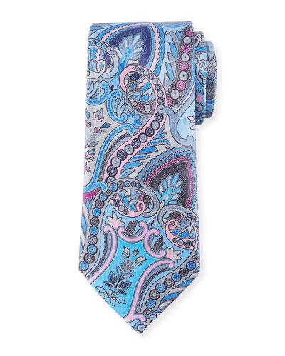Quindici Moroccan Paisley Silk Tie, Blue