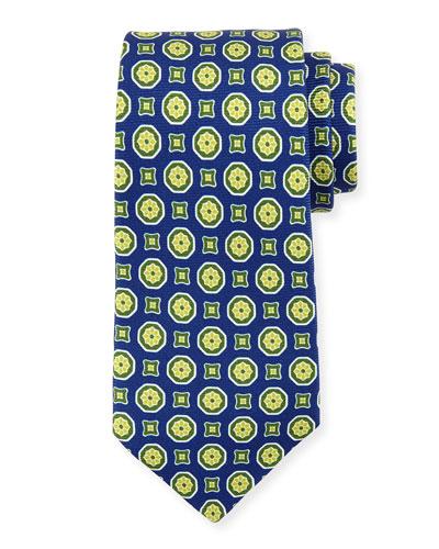 Medallion-Print Silk Tie, Blue