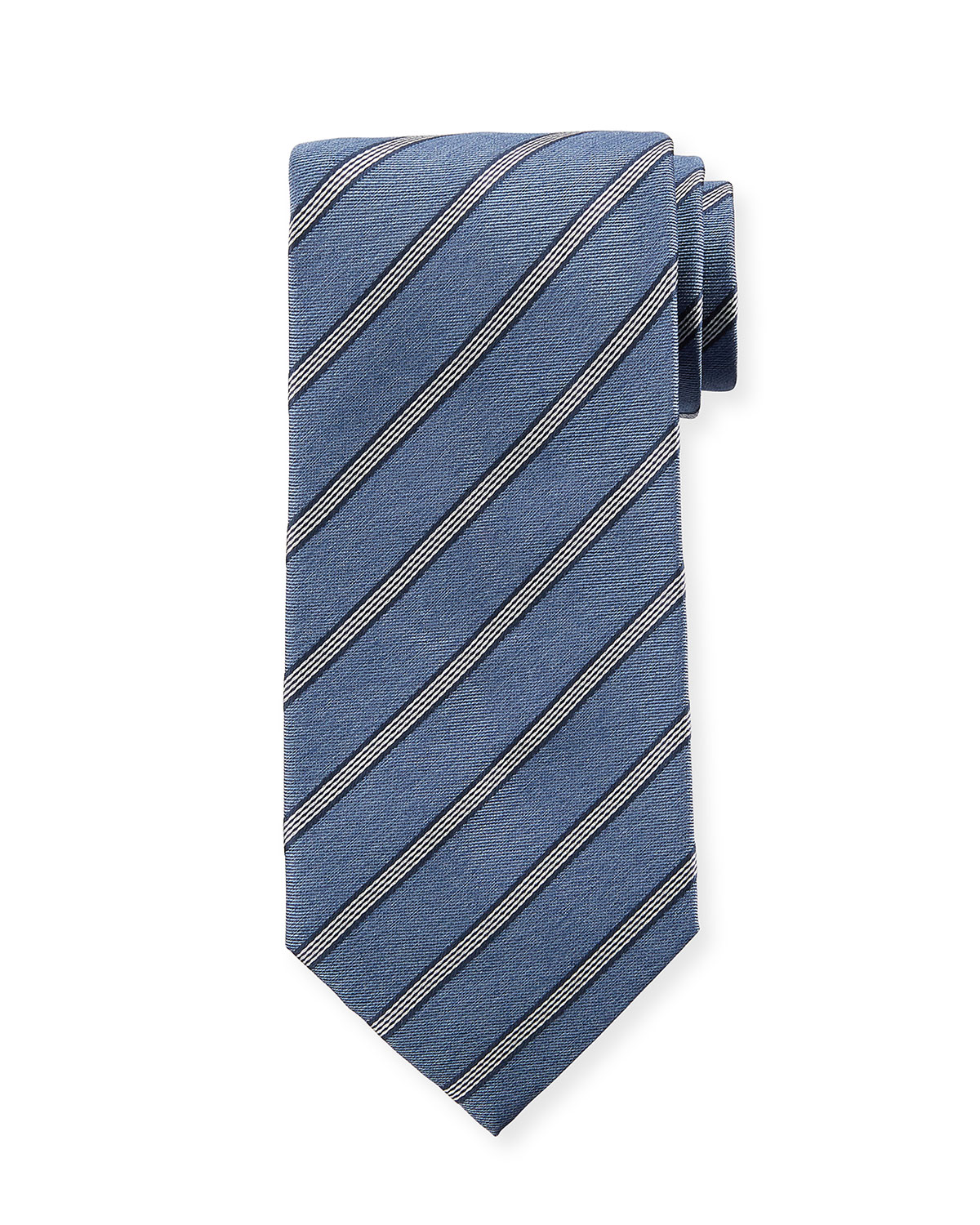 Diagonal Striped Silk Tie