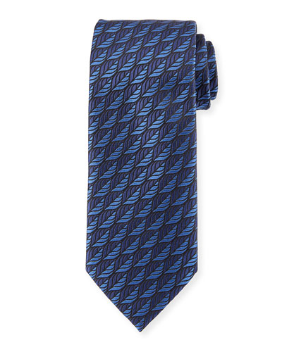 Woven Leaves Silk Tie, Blue