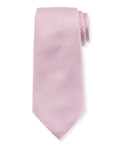 Tonal Check Silk Tie, Pink