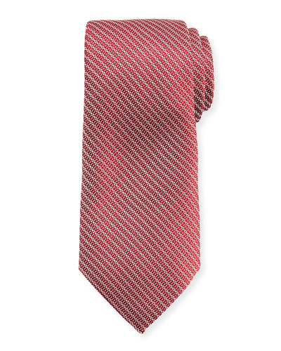 Diagonal Chain Silk Tie, Red