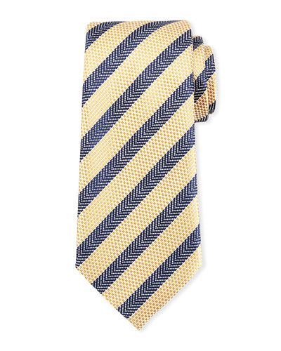Chevron Striped Silk Tie
