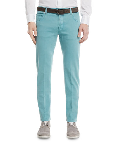 Twill Slim-Straight Jeans, Light Green
