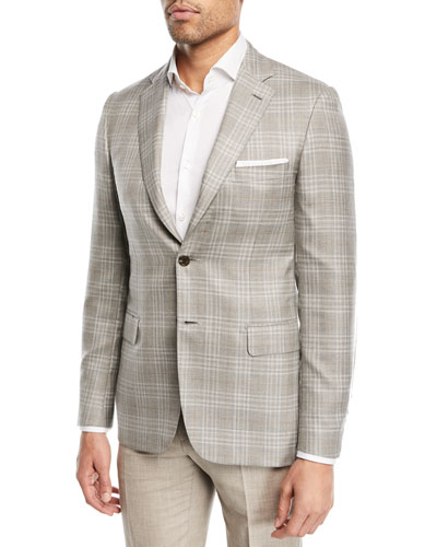 Plaid Cashmere-Blend Blazer, Camel/Gray
