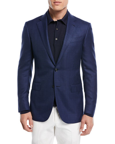 Textured Wool Triblend Blazer, Navy