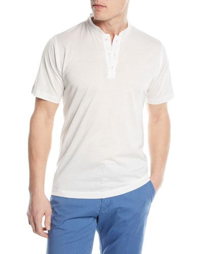 Mandarin-Collar Cotton T-Shirt