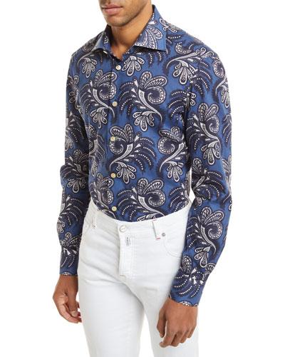 Large Paisley-Print Long-Sleeve Shirt
