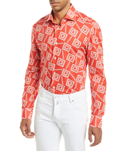 Floral-Print Long-Sleeve Shirt, Coral